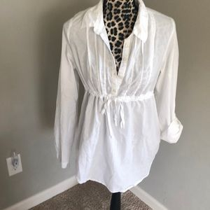 White Miley Cyrus Button Down Top